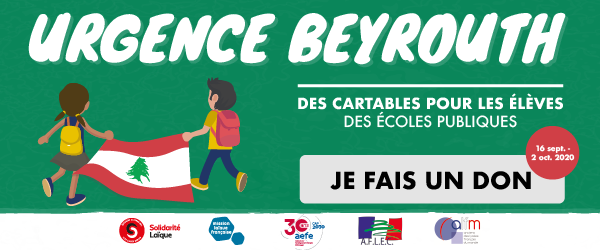 Des cartables pour les écoles publiques de Beyrouth